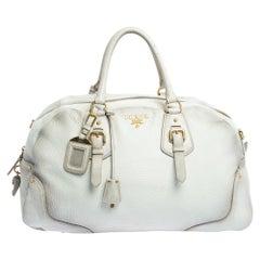 Prada Ombre White Cervo Antik Leather Bauletto Bag