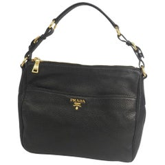 PRADA one shoulder Womens shoulder bag black x gold hardware