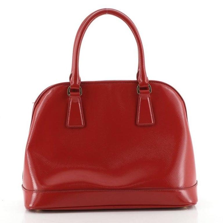 Prada Open Promenade Bag Vernice Saffiano Leather Medium In Good Condition For Sale In New York, NY