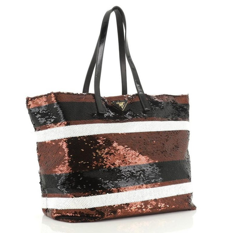 Prada Open Tote Sequins Large In Good Condition For Sale In New York, NY
