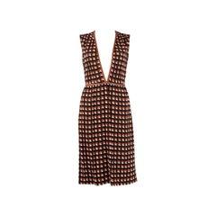 PRADA orange black white viscose PRINTED Sleeveless Dress 38