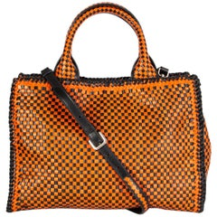 PRADA orange & black woven leather MADRAS Tote Shoulder Bag