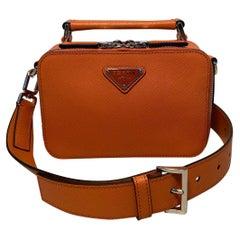 Prada Orange Brique Saffiano Leather Crossbody Bag