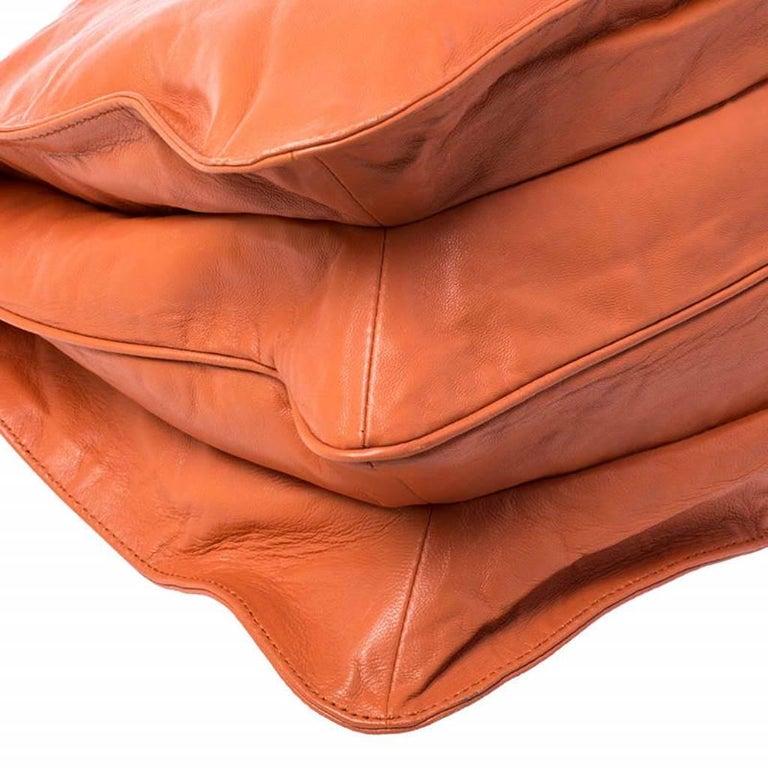 Prada Orange Crinkled Leather Hobo Bag For Sale 6