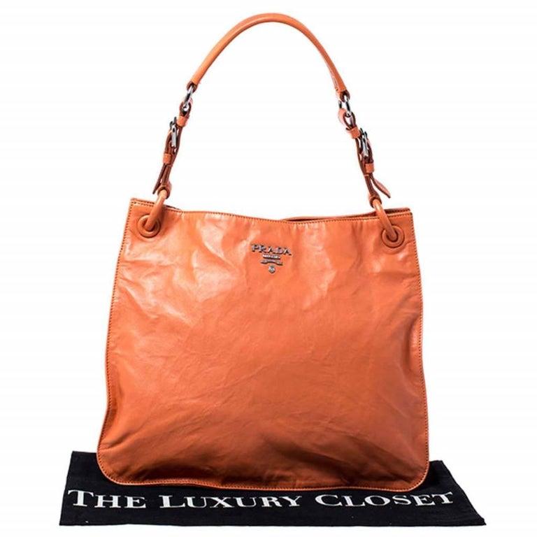 Prada Orange Crinkled Leather Hobo Bag For Sale 7