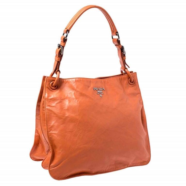Women's Prada Orange Crinkled Leather Hobo Bag For Sale