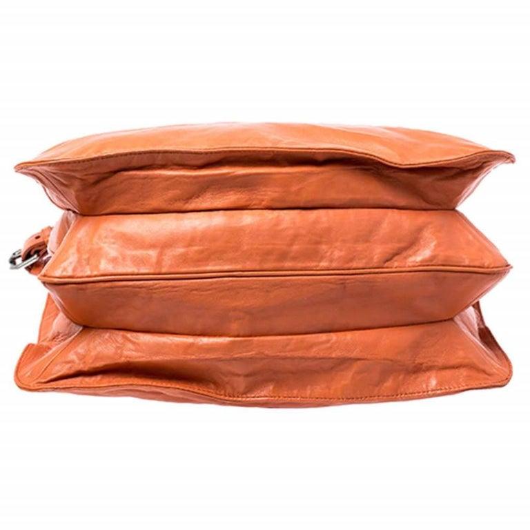 Prada Orange Crinkled Leather Hobo Bag For Sale 1