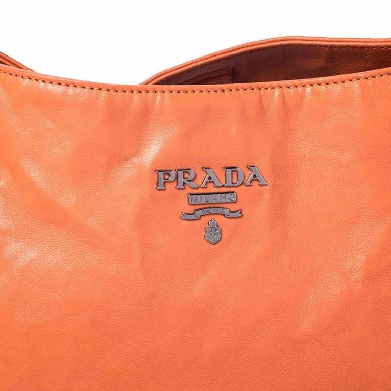 Prada Orange Crinkled Leather Hobo Bag For Sale 2