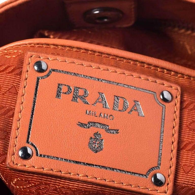 Prada Orange Crinkled Leather Hobo Bag For Sale 4