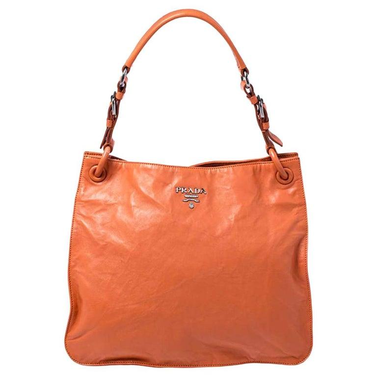 Prada Orange Crinkled Leather Hobo Bag For Sale