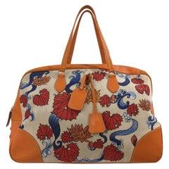 Prada orange fish painted handle shoulder bag