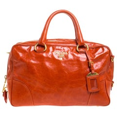 Prada Orange Glazed Leather Bauletto Satchel