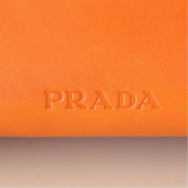 Prada Orange Leather Bag For Sale 1
