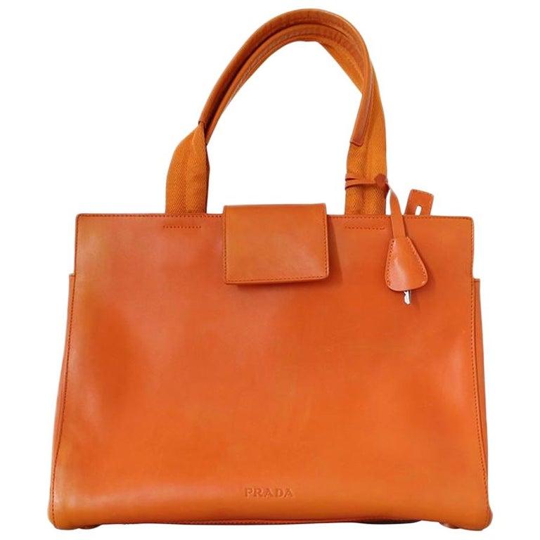 Prada Orange Leather Bag For Sale