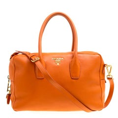Prada Orange Leather Bauletto Bag