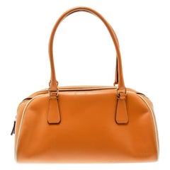 Prada Orange Leather Bowler Bag