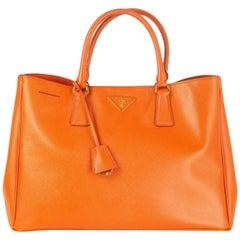 PRADA orange leather GALLERIA SAFFIANO LUX TOTE Bag