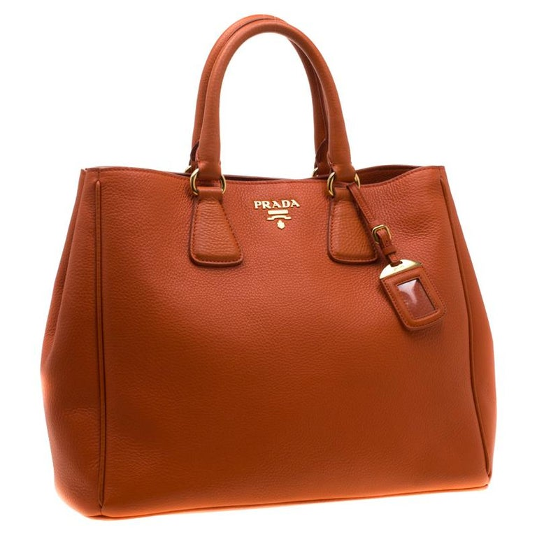 Red Prada Orange Leather Large Open Tote