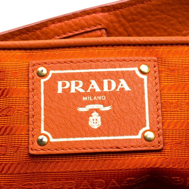 Prada Orange Leather Large Open Tote In Good Condition In Dubai, Al Qouz 2