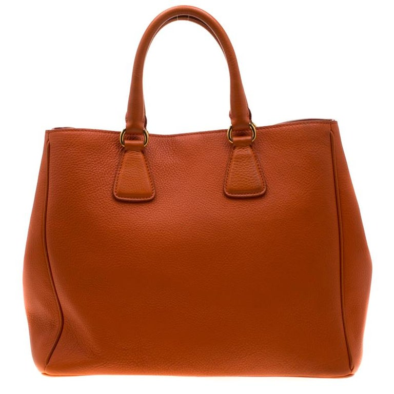 Prada Orange Leather Large Open Tote 1