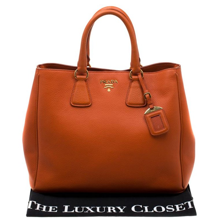 Prada Orange Leather Large Open Tote 4