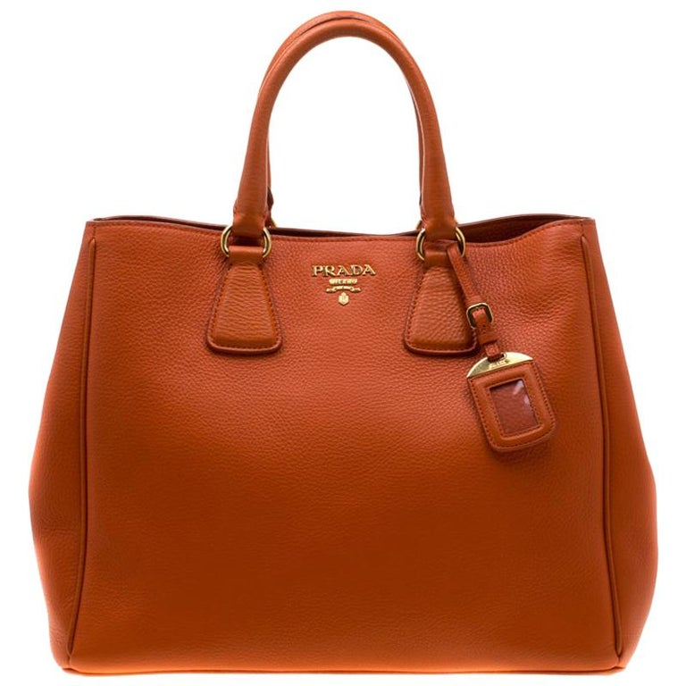 Prada Orange Leather Large Open Tote