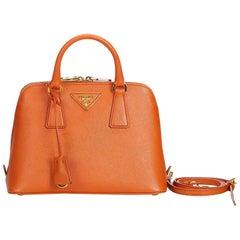 Prada Orange  Leather Saffiano Lux Promenade Satchel Italy
