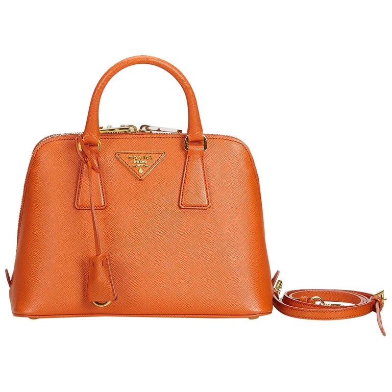 32b66484c8e8 Prada Orange Leather Saffiano Lux Promenade Satchel Italy For Sale ...