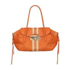 PRADA orange leather STRIPE Shoulder Bag