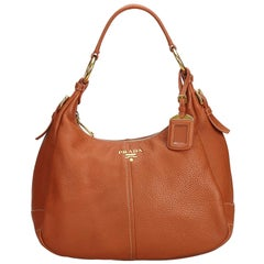 c01cd97ba1e6 Prada Orange Leather Vitello Daino Shoulder Bag Italy