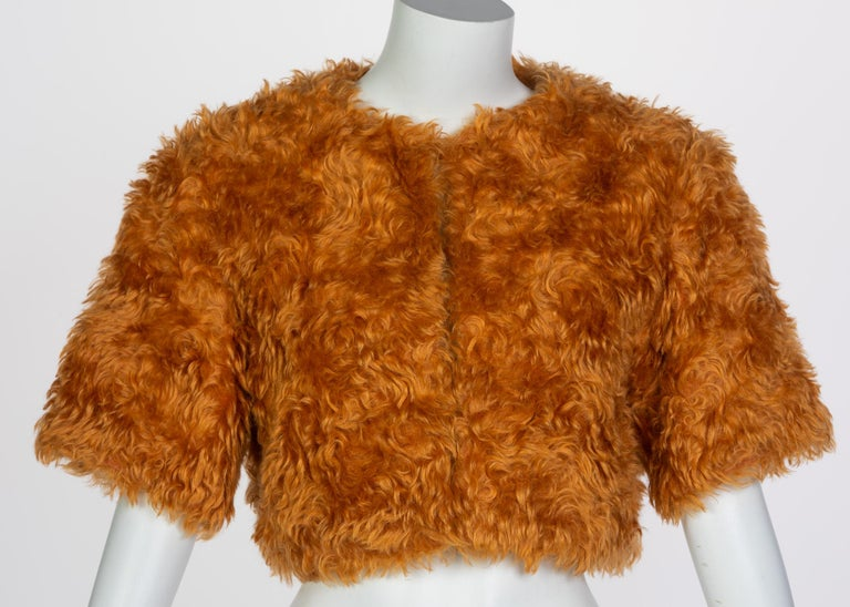 Prada Orange Mohair Cropped Jacket, 2007 In Excellent Condition For Sale In Boca Raton, FL
