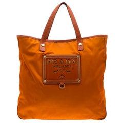 Prada Orange Nylon and Leather Lasercut Logo Tote