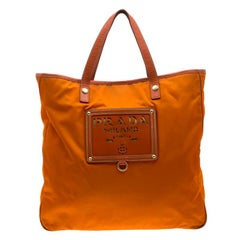 Prada Orange Nylon and Leather Lasercut Logo Tote