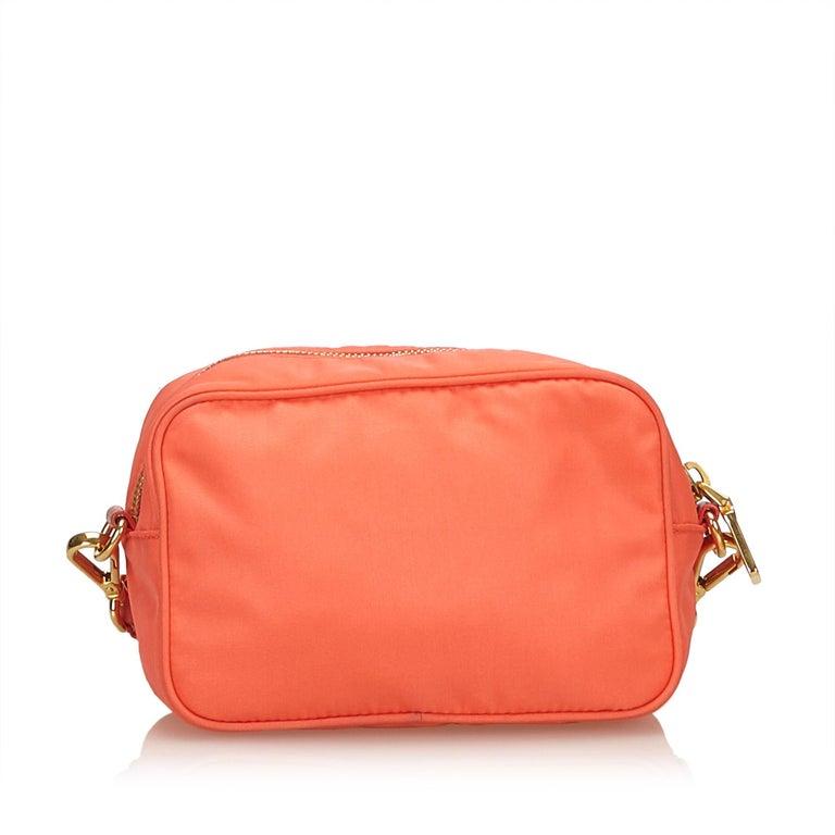 867f3dbd0bc3e9 Red Prada Orange Nylon Bow Crossbody Bag For Sale