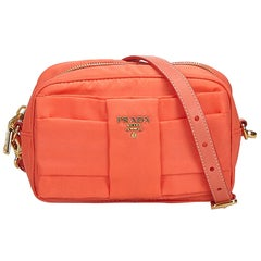 Prada Orange Nylon Bow Crossbody Bag