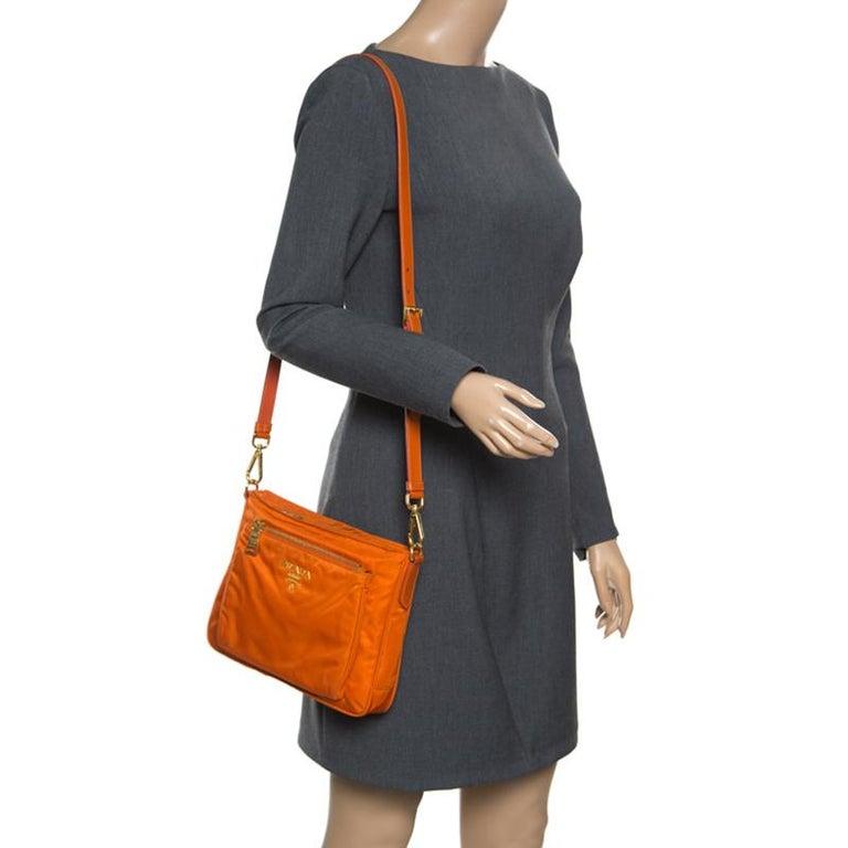 3758d732d12289 Prada Orange Nylon Crossbody Bag In Good Condition For Sale In Dubai, AE