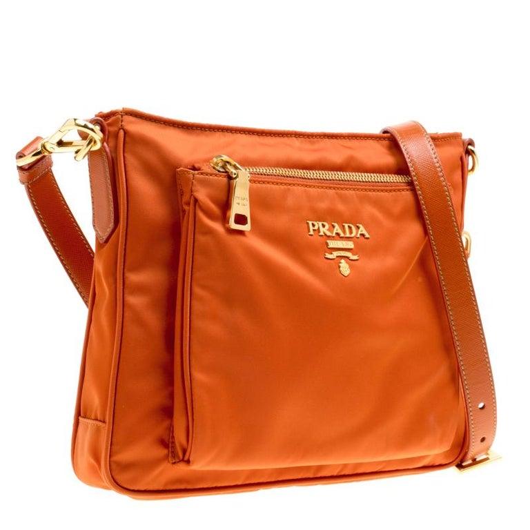 29c25025b7361e Women's Prada Orange Nylon Crossbody Bag For Sale