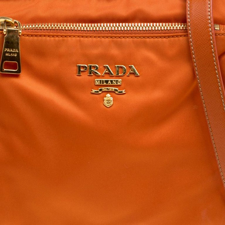 4b6ed12b35985f Prada Orange Nylon Crossbody Bag For Sale 1