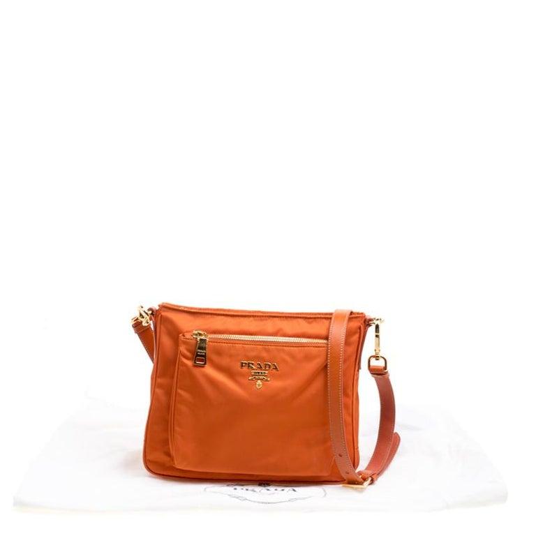 5837e9e560a3 Prada Orange Nylon Crossbody Bag For Sale 5