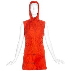 Prada orange nylon hooded gillet and skirt set, c. 1999