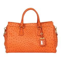 PRADA orange OSTRICH Shoulder Bag