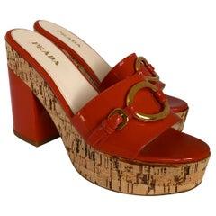 Prada Orange Patent Leather w/ Cork Platform Chunky Medium Heel Slide Sandal