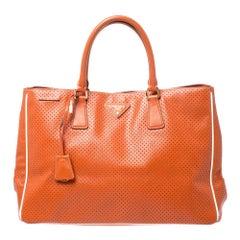 Prada Orange Perforated Saffiano Lux Leather Large Gardener's Tote