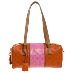 Prada Orange/Pink Perforated Leather Small Fori Striped Boston Bag