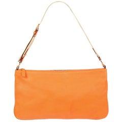 PRADA orange Saffiano leather Baguette Shoulder Bag