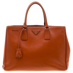 Prada Orange Saffiano Leather Large Double Zip Tote