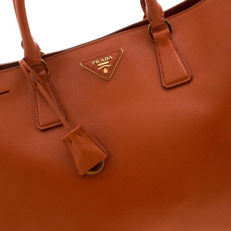 Prada Orange Saffiano Leather Medium Lux Tote For Sale 6