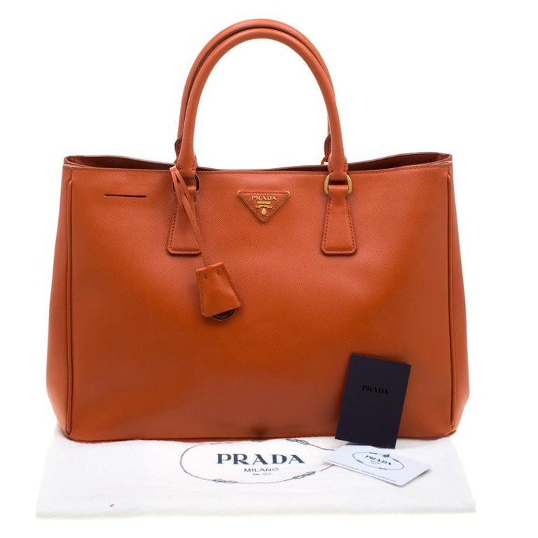 Prada Orange Saffiano Leather Medium Lux Tote For Sale 8
