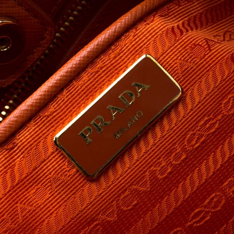 Prada Orange Saffiano Leather Medium Lux Tote For Sale 4