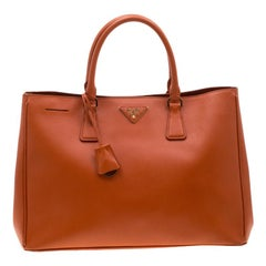 Prada Orange Saffiano Leather Medium Lux Tote